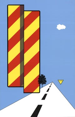 "Allan D'Arcangelo-Yield-30"" x 19.25""-Serigraph-1968-Pop Art-Red, Yellow, Blue"