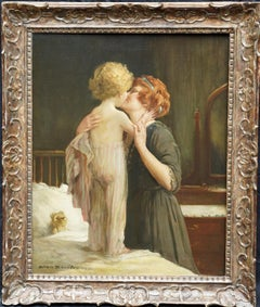 Mother's Love - Bedtime - British 20's art mother child portrait oil painting