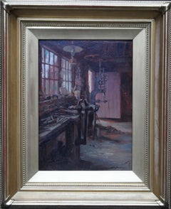 The Workshop - British art 1920's workshop interior scene oil painting