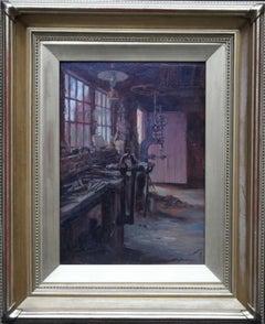 The Workshop - British art 20s workshop interior oil painting wood work carving
