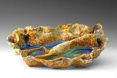 """""""River Series 2"""",  textured ceramic in blue, green and brown glazes"""