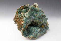 """""""Sea Creature 2"""", textured ceramic in blue greens, embodies essential clay"""