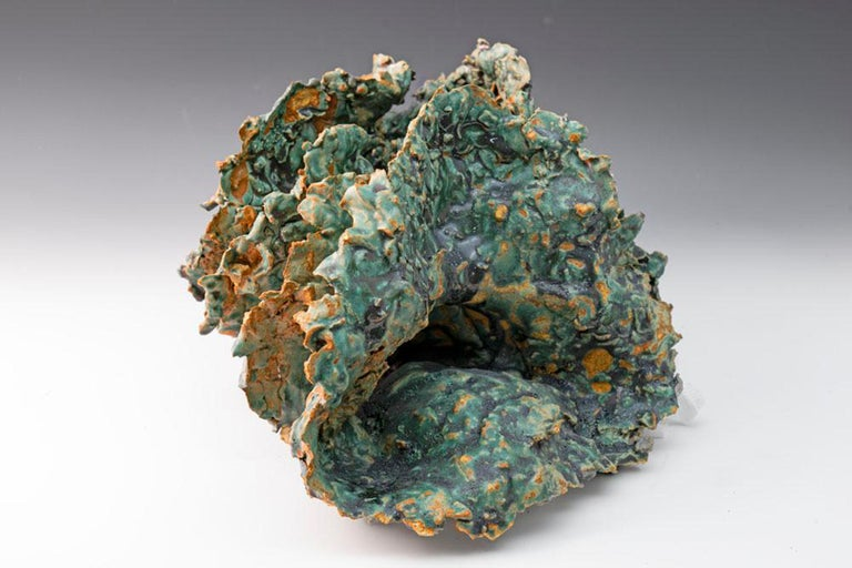 """Sea Creature 2"", textured ceramic in blue greens, embodies essential clay - Sculpture by Allan Drossman"