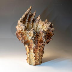 """""""Vase"""", textured ceramic in golden browns, the essence of clay"""
