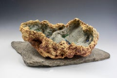 """""""Washed Ashore"""", celadon green glazed and textured ceramic"""