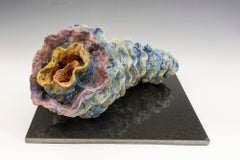 """""""Water Spiral"""", blue, pink and yellow glazed and textured ceramic"""