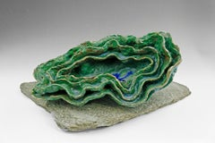 """""""Wave Form 1"""", green glazed textured ceramic, embodies the essence of clay"""
