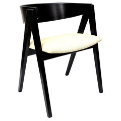 Allan Gould Compass Black and Tan Side Chair Mid-Century Modern