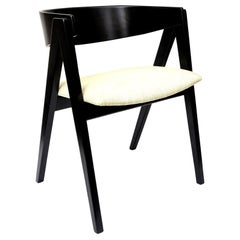 Allan Gould Compass Restored Black and Tan Side Chair Mid-Century Modern