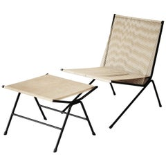 "Allan Gould String ""Bow"" Lounge Chair and Ottoman, 1950s"