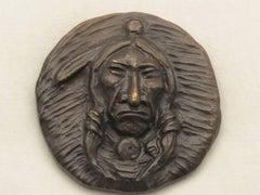 Plains Indian Medallion, bronze, Nambe, Allan Houser, small life-time casting