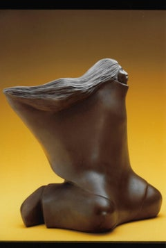 Thinking of Him, bronze sculpture, seated woman flowing hair dark brown patina