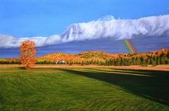 Maxwell Settlement Fall Rainbow, Painting, Oil on Canvas