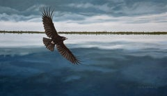 Raven Over Dark Water, Painting, Oil on Canvas