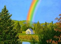 Schoolhouse Rainbow, Painting, Oil on Canvas