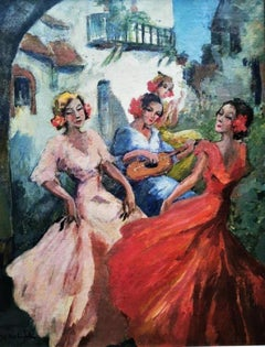"""""""Andalusian Dancers"""", outdoor scene, traditional Spanish dancers, oil on canvas"""