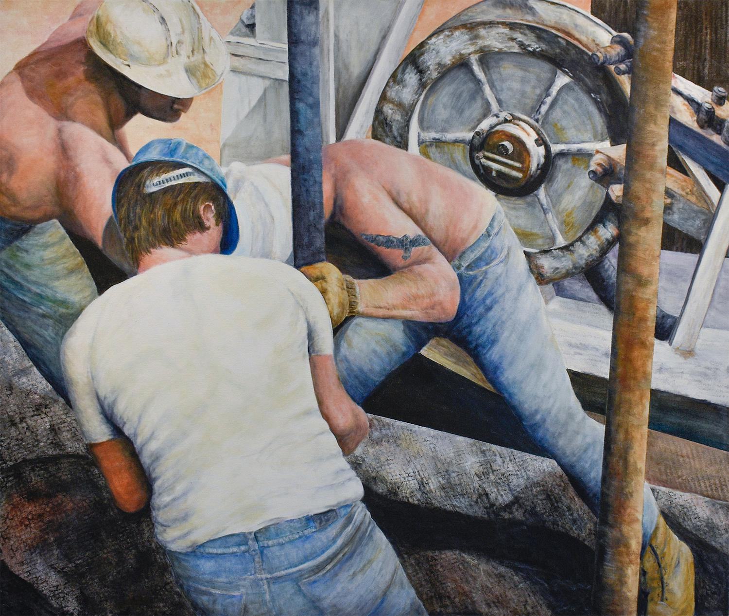 Men At Work 11: Figurative Oil Painting of Construction Workers in Sky Blue