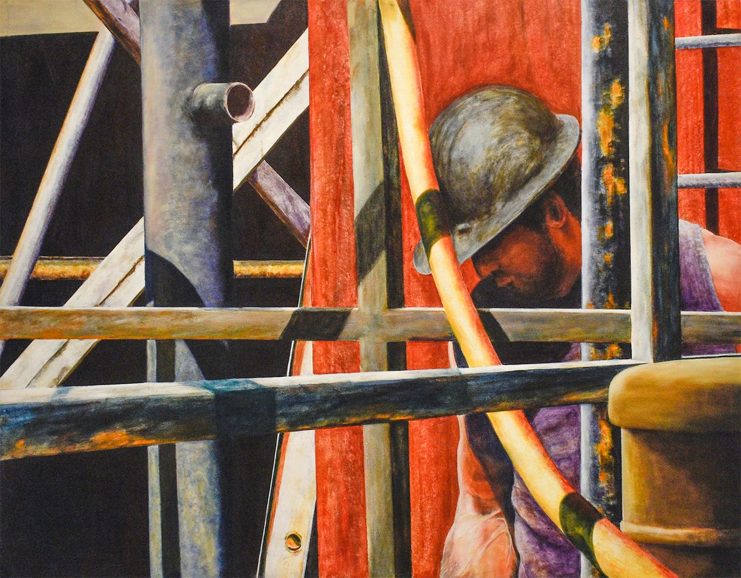 Men at Work #5 (Framed Figurative Oil Painting of Construction Worker in Red)