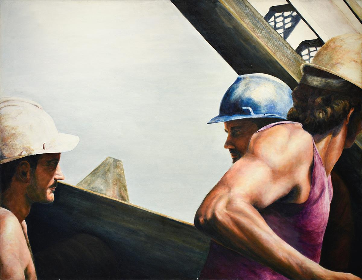 Men at Work II: Figurative Oil Painting of Construction Workers in Steel Frame