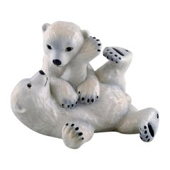 Allan Therkelsen for Royal Copenhagen, Rare Porcelain Figurine, Polar Bear Cubs