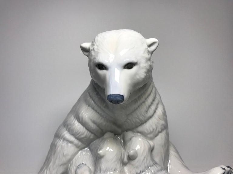 Danish Allan Therkelsen Royal Copenhagen Motherly Love Porcelain Polar Bear & Cubs #087 For Sale
