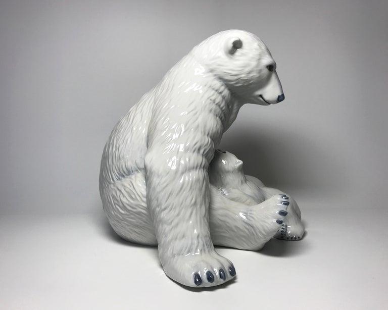 Glazed Allan Therkelsen Royal Copenhagen Motherly Love Porcelain Polar Bear & Cubs #087 For Sale