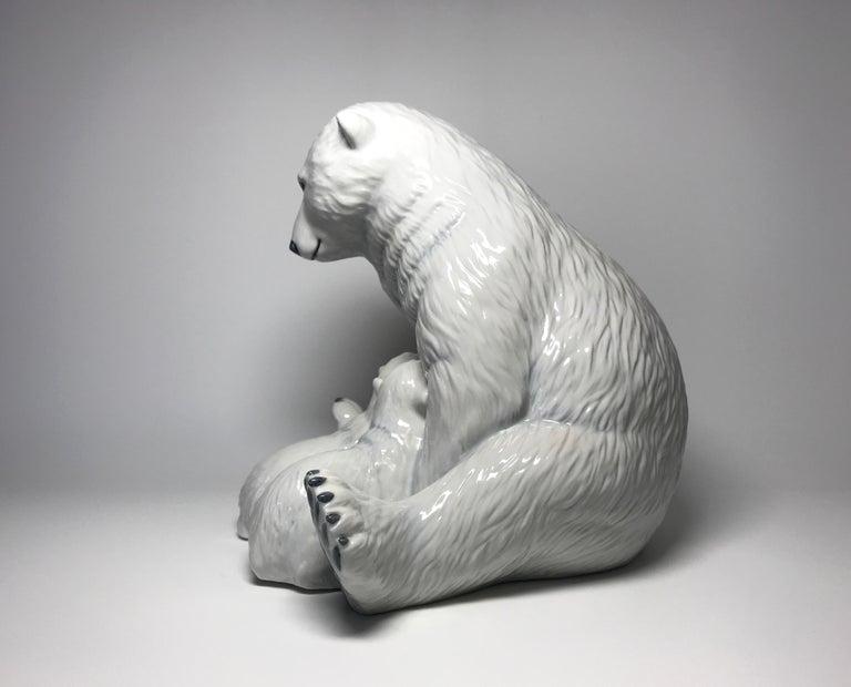 Contemporary Allan Therkelsen Royal Copenhagen Motherly Love Porcelain Polar Bear & Cubs #087 For Sale