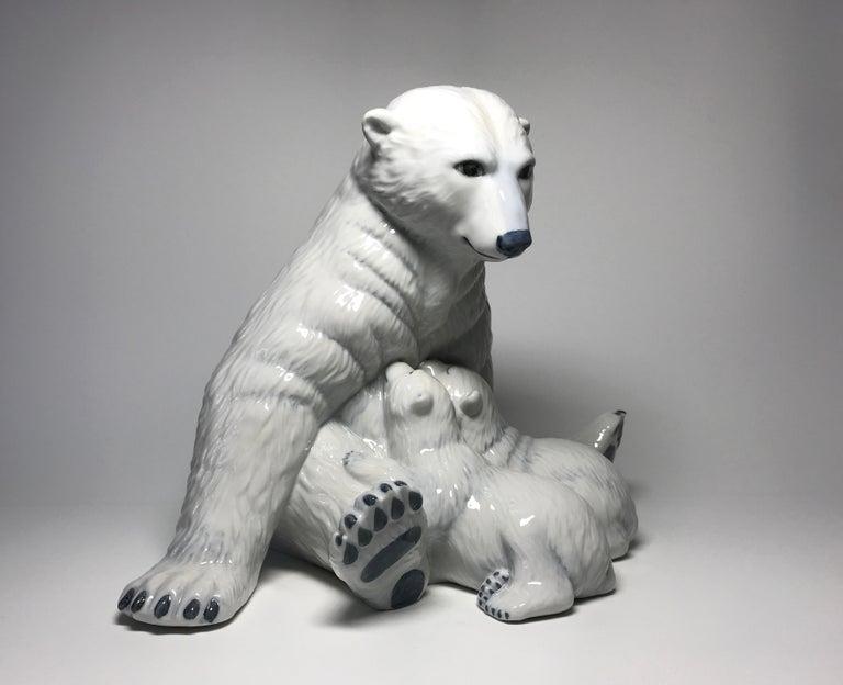 Allan Therkelsen Royal Copenhagen Motherly Love Porcelain Polar Bear & Cubs #087 For Sale 1