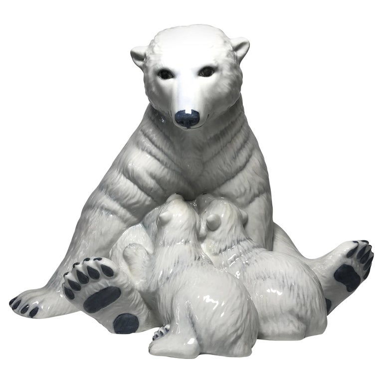 Allan Therkelsen Royal Copenhagen Motherly Love Porcelain Polar Bear & Cubs #087 For Sale