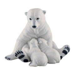 Allan Therkelsen, Royal Copenhagen, Porcelain Polar Bear Mother with Cubs