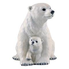 Allan Therkelsen, Royal Copenhagen, Porcelain Polar Bear Mother with Young Cub