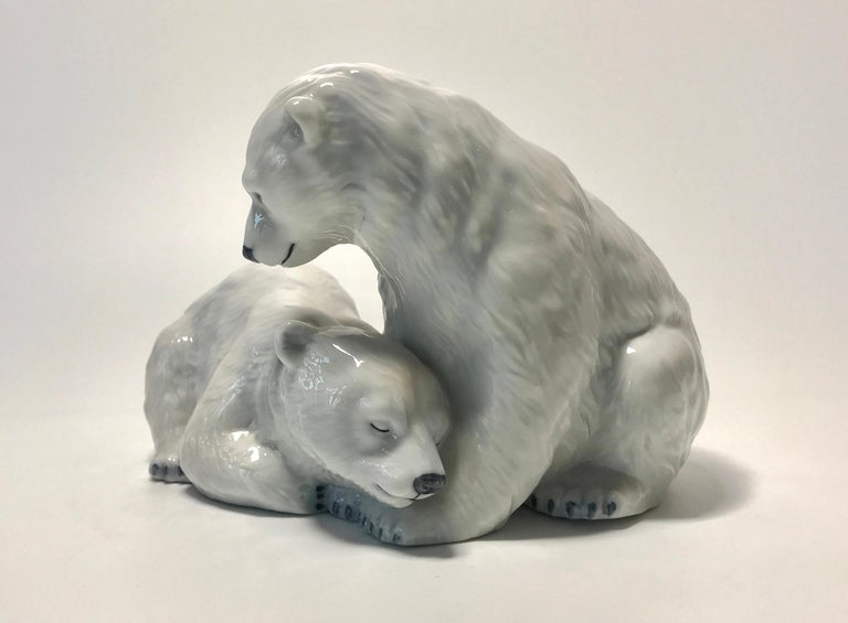Allan Therkelsen for Royal Copenhagen porcelain twin polar bear cubs figurine #356