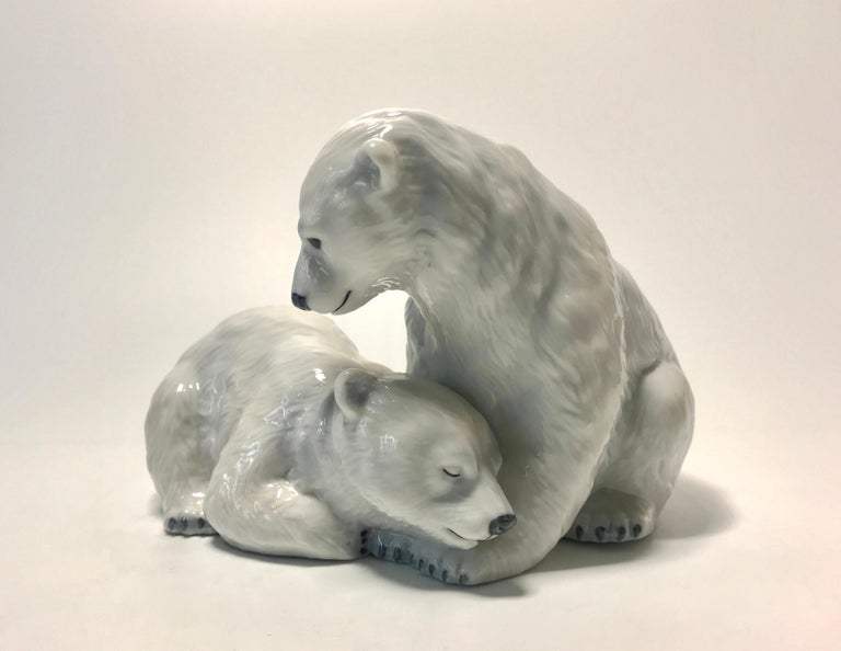 Glazed Allan Therkelsen Royal Copenhagen Porcelain Twin Polar Bear Cubs Figurine #356 For Sale