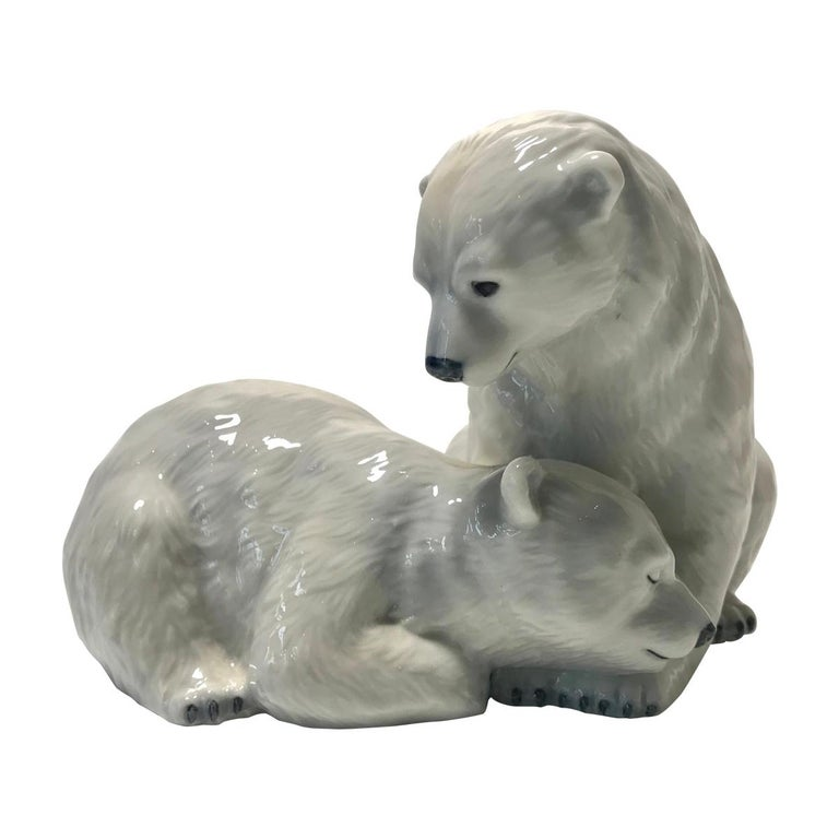 Allan Therkelsen Royal Copenhagen Porcelain Twin Polar Bear Cubs Figurine #356 For Sale