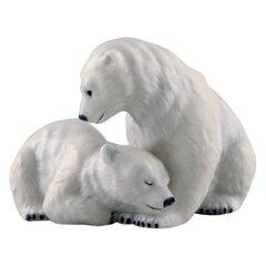 Allan Therkelsen, Royal Copenhagen, Rare Porcelain Figurine, Two Polar Bear Cubs