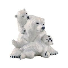 Allan Therkelsen, Royal Copenhagen, Rare Porcelain Polar Bear Mother with Cubs