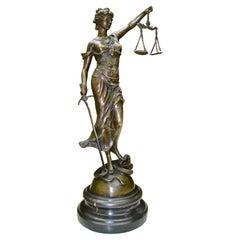 Allegorical  Bronze  Statue Depicting Lady Justice Signed Dubanton