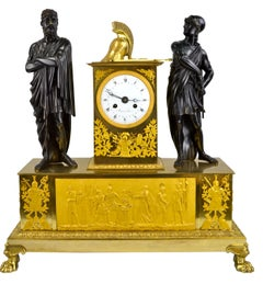"Allegorical French Empire clock Titled "" Le Sacrifice d'Iphigénie """