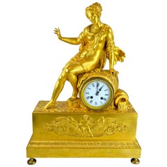 Allegorical French Empire Gilt Bronze Clock Depicting Earth's Source of Water