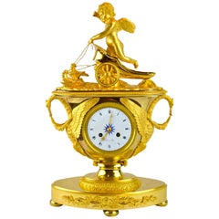 Allegorical French Empire Urn Clock Featuring Cupid on a Chariot Drawn by Doves
