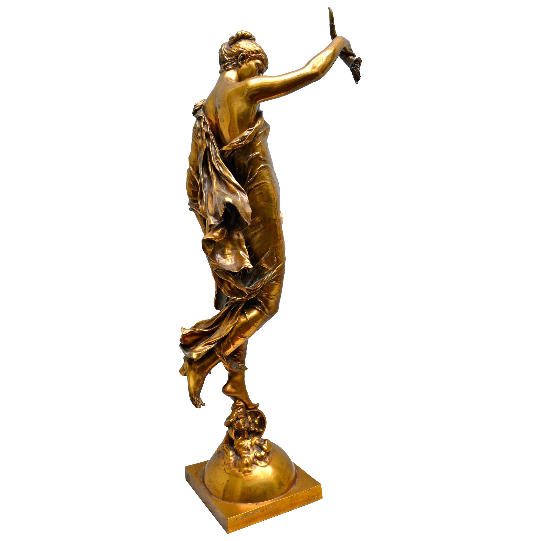 "Allegorical Gilt Bronze Statue Titled ""La Fortune"" by Augustin Moreau-Vauthier"