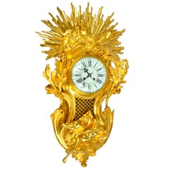 "Allegorical Louis XV Style Gilt Bronze Cartel Clock Depicting ""Night and Day"""