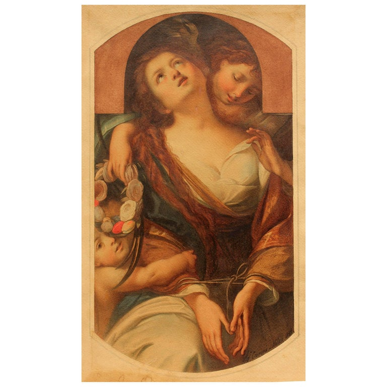 Exceptionally fine 19th century allegorical painting of chastity. Watercolor painted by Italian artist Agostino Caironi, dated 1859 Milan.