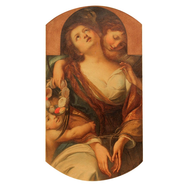 "Allegorical Painting ""Chastity"" by Agostino Caironi, Dated 1859 For Sale"
