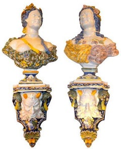 Allegorical Pair of Faience de Rouen Busts Depicting Summer and Fall