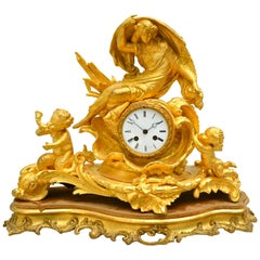 Allegorical Rococo Revival Clock Depicting a Gilt Water Sprite with Putti
