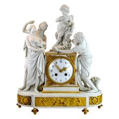 Allegorical Sevres Bisque Porcelain Figural Clock titled La Larcin De la Rose