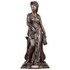 "Allegorical Subject in Bronze, ""the Harvest"", Signed Léon Pilet"