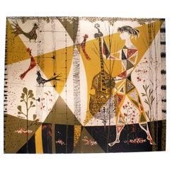 """""""Allégorie en Musique"""" Figurative Tapestry Signed """"René Fumeron"""""""