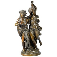 Allegory of Fishing 'La Pêche', Bronze, Peiffer, Auguste Joseph, 19th Century